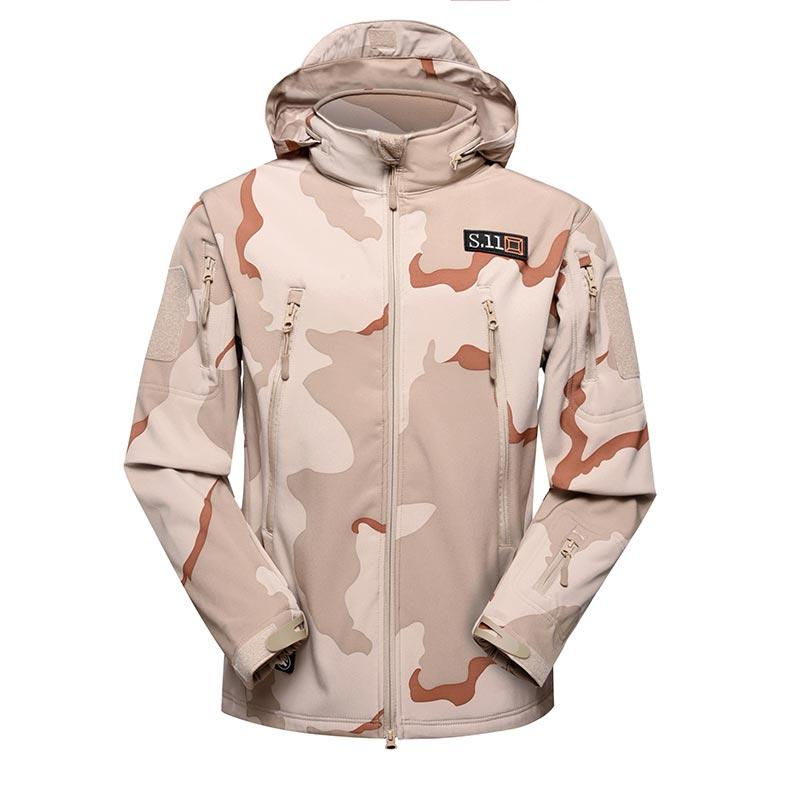 Three Desert Camouflage military winter fleece jacket for soldier MJ04