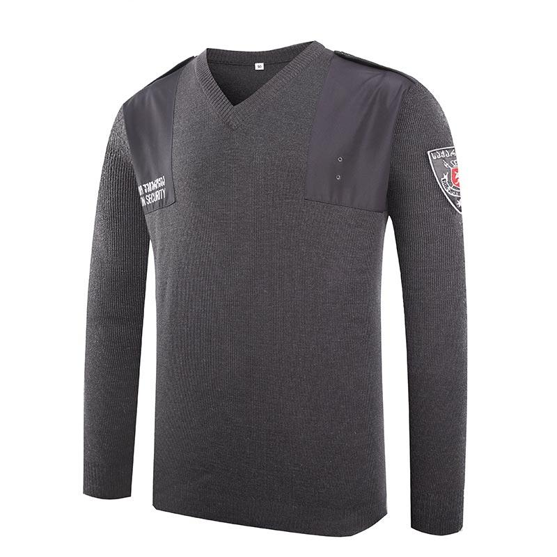 Military dark grey color V neck customized Georgia police wool sweater