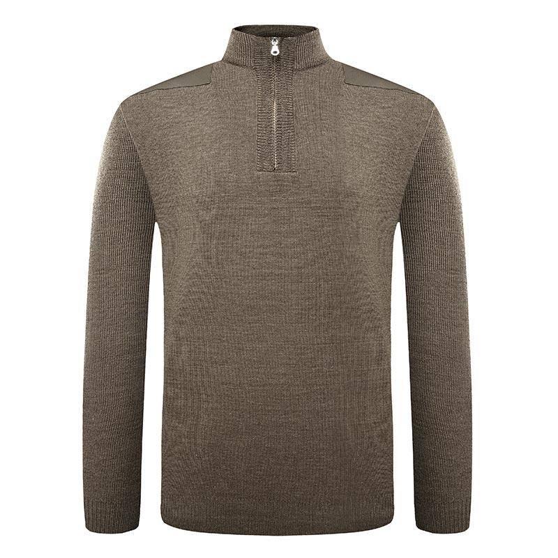 Military khaki color high neck customized with zipper design army wool sweater