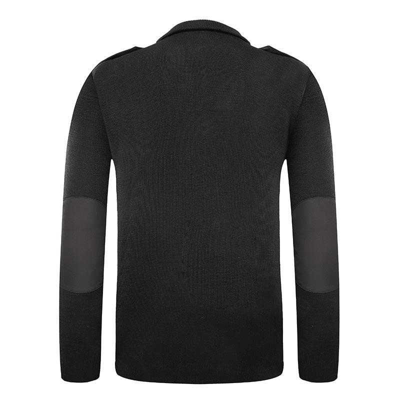 Military black color long sleeves customized Georgia police lapel wool sweater
