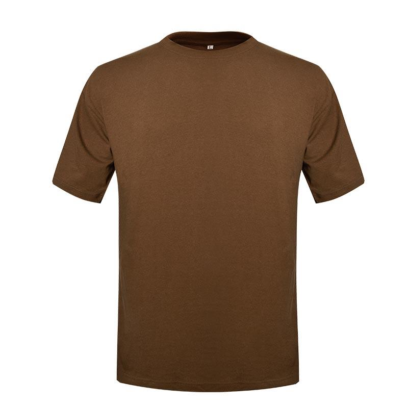 Military khaki color short sleeves round neck 100% cotton T shirt