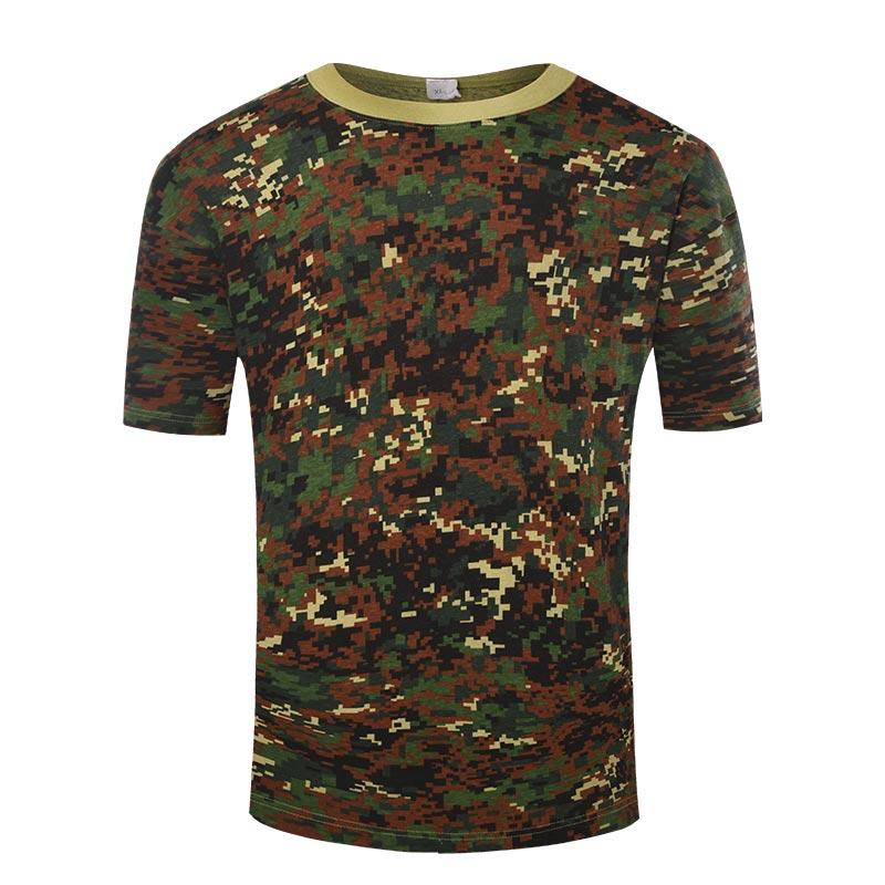 Military digital jungle camo cotton material OEM round neck T shirt
