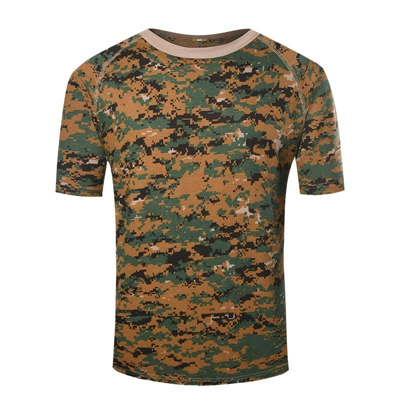 Army digital woodland camo color daily wear training round neck cotton T shirt