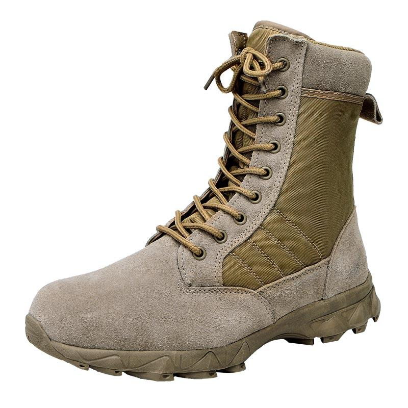 Rubber outsole natural leather and oxford lightweight army boots military army combat boots men's boots shoes outdoor MB10