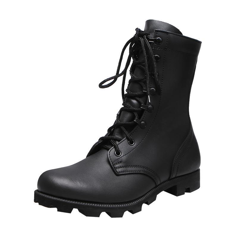 Black gunuine leather rubber outsole men's boots army men boots genuine leather leather boots for men MB15
