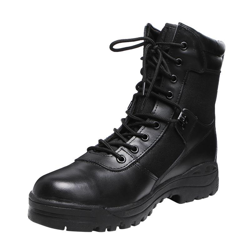 Black oxford and leather boots rubber sole combat boots military men's boots army boots for men MB16