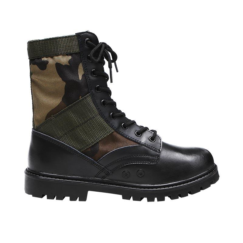 Black genuine leather army boots military boots GZ XINXING MB02