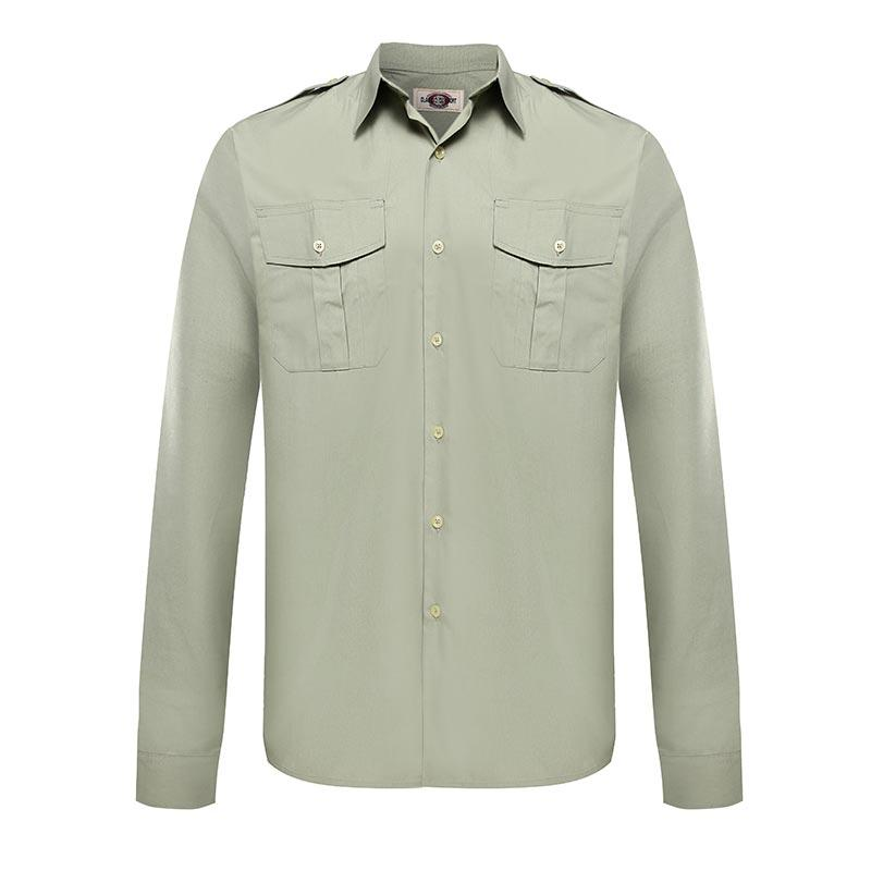 Military officer light green color two pockets epaulet long sleeves shirt