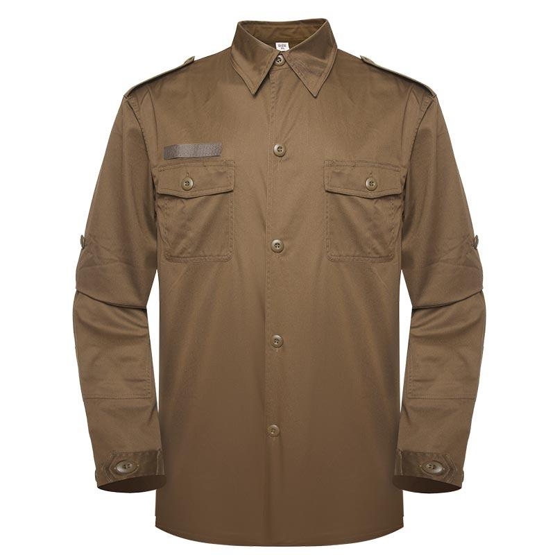 Military officer khaki color two pockets with epaulets long sleeves shirt