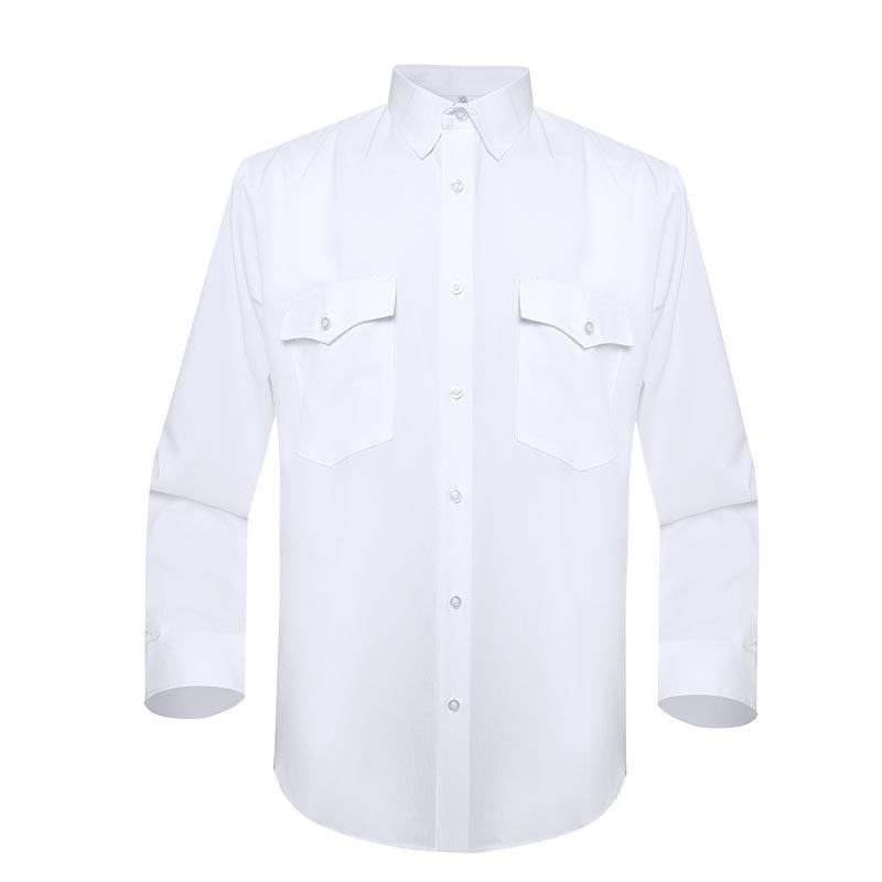 Military officer white color two pockets soft quick dry long sleeves shirt