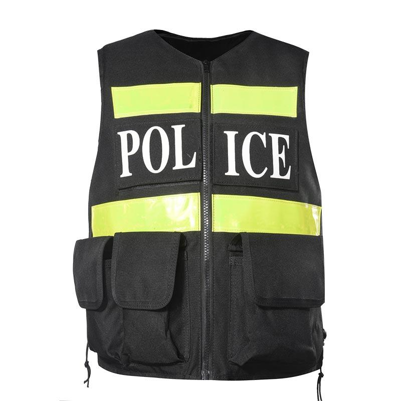 Cambodia Municipal Police Commissioner Reflective Vest with 600D Polyester Oxford Fabric and Reflective Tapes TV14