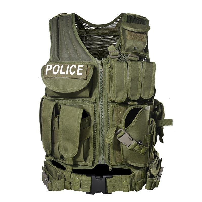 600D Polyester Oxford Fabric SWAT Police Multifunctional Military Tactical Vest with Magazines Pouches Pistol Holster Belt TV15