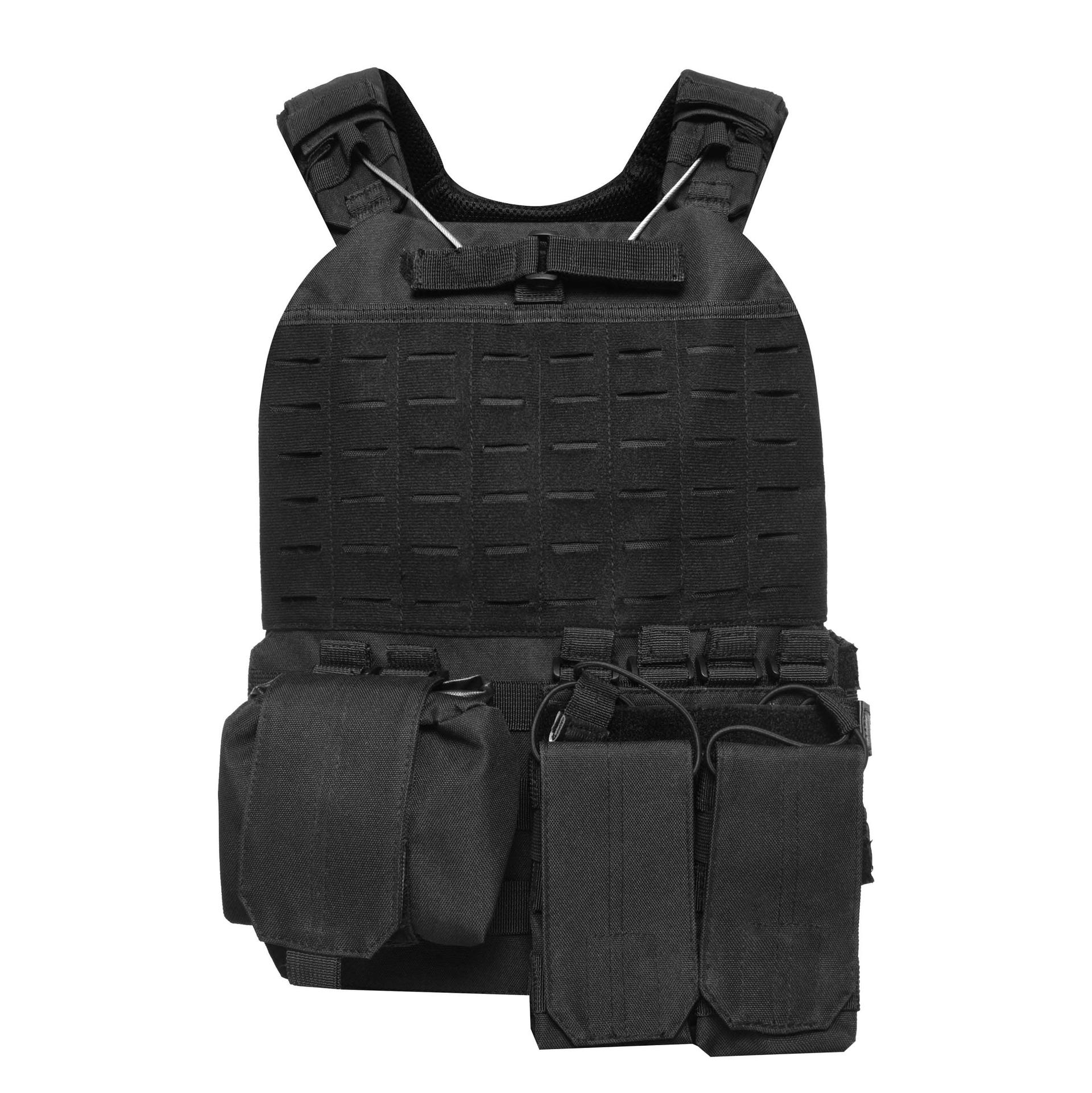 600D Polyester Oxford Black Tactical Vest Bulletproof Plate Carrier TV01B