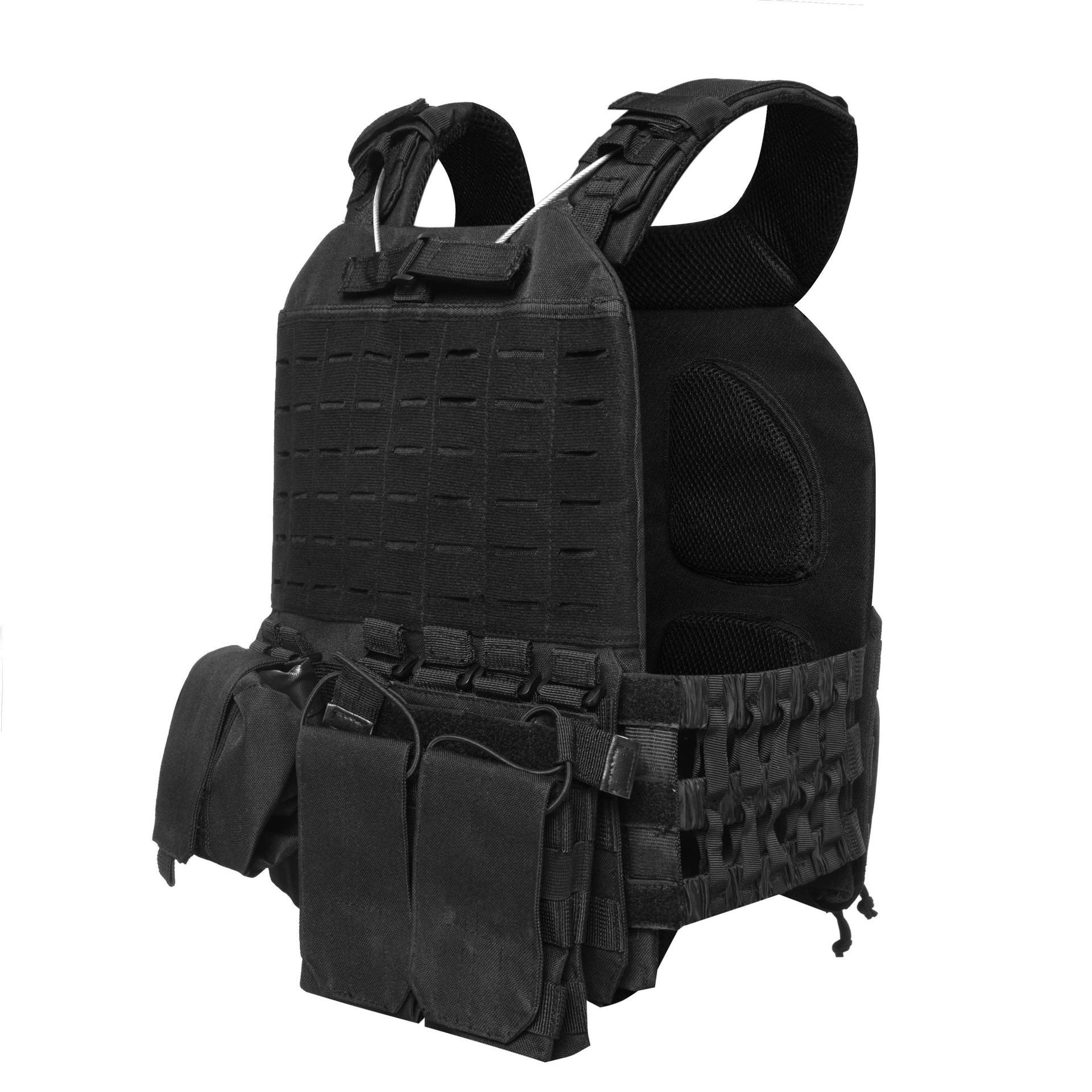 600D Polyester Oxford Black Tactical Vest Bulletproof Plate Carrier TV01B