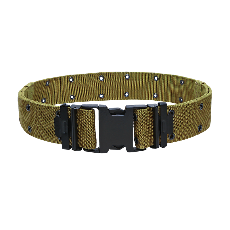 khaki military belt with buckle