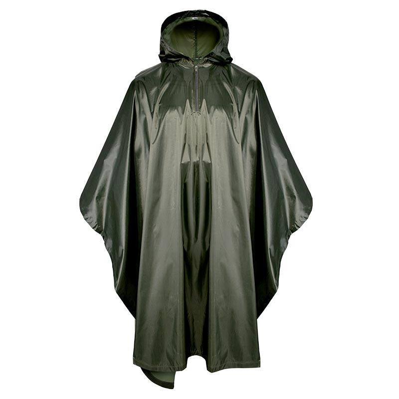 Military 190T Polyester Dark Green Poncho with PVC coating PRXX01