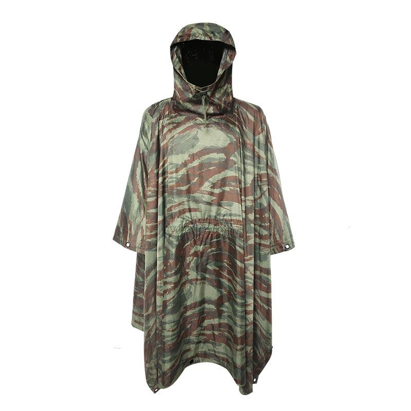 Military 190T Polyester camouflage Poncho with PVC coating PRXX04