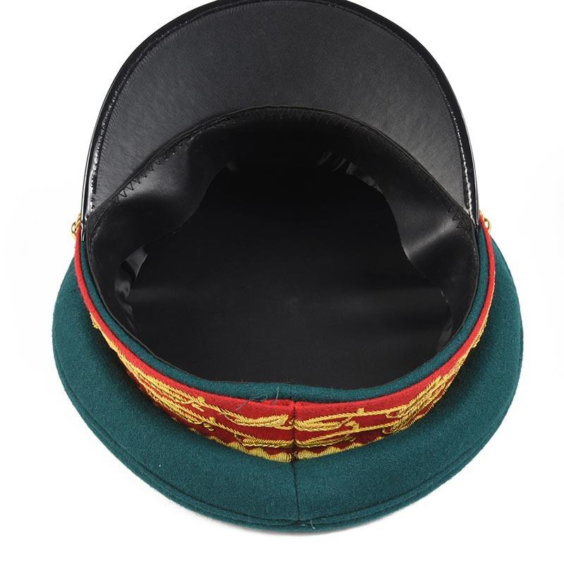 Wholesale high quality embroidery military uniform police captain officer visor peak hat cap of PAXX02