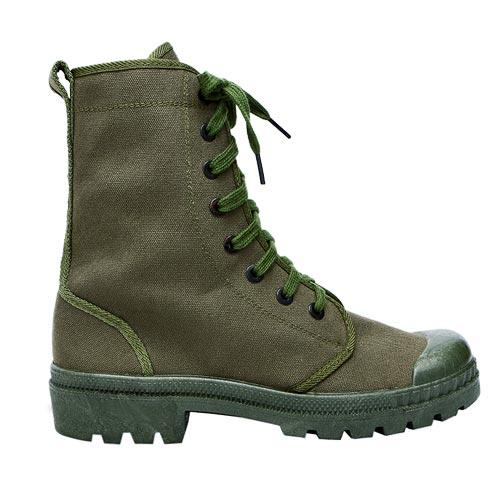 High quality 100% cotton Olive green upper military training canvas boots 002