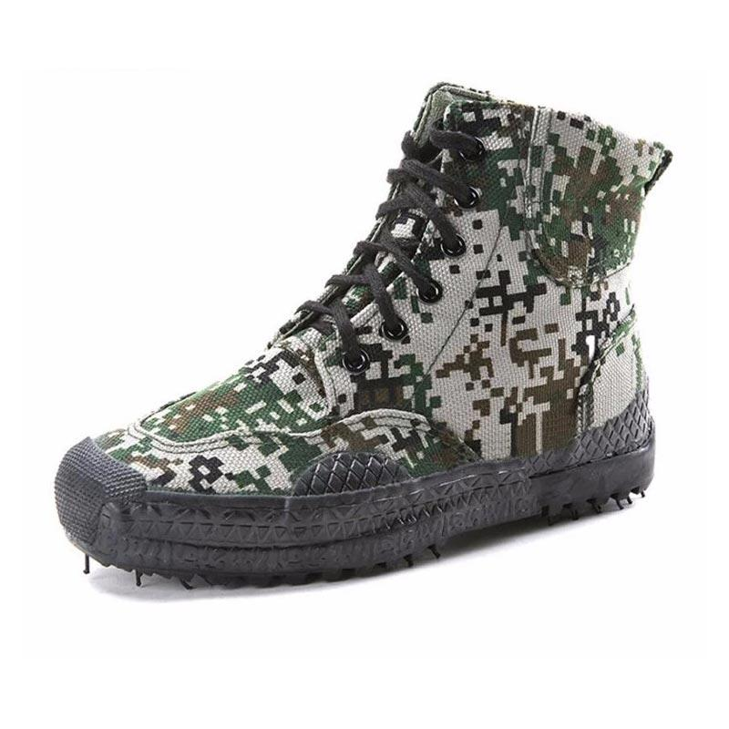 High cut cotton materials camouflage color military canvas shoes 005