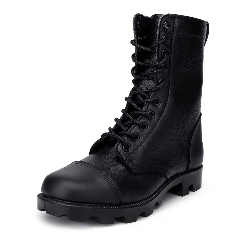 Black embossed leather army boots military boots tactical vulcanized black combat boots MB21