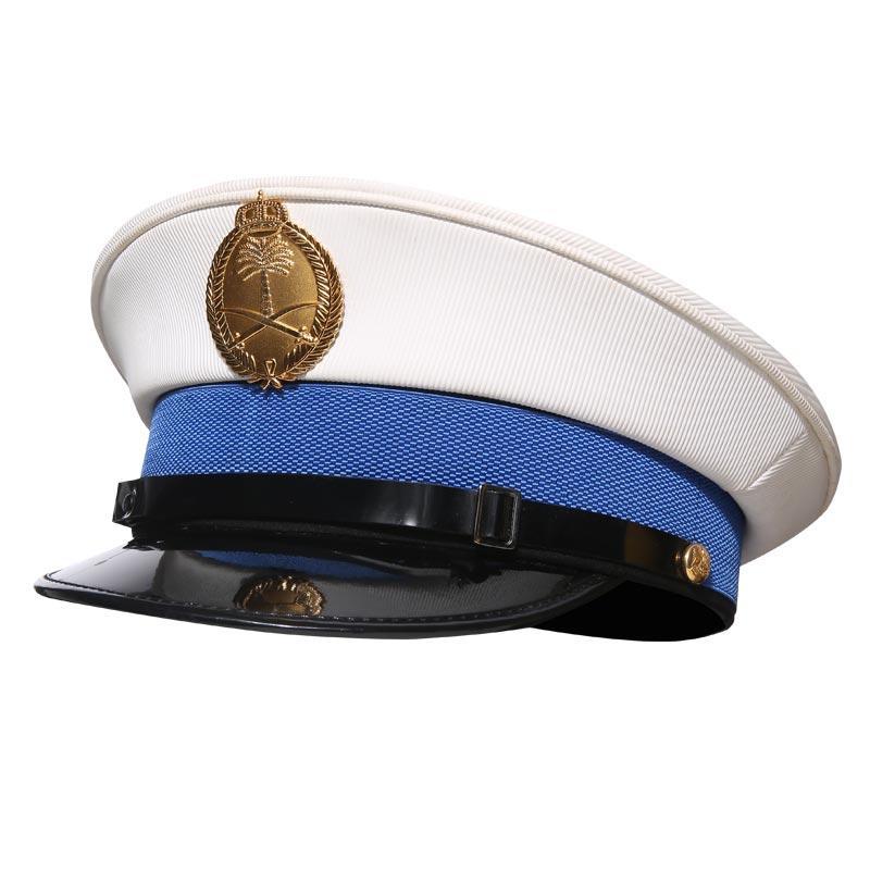 White PVC peak army caps officer military officer cap navy officer caps MAXX06