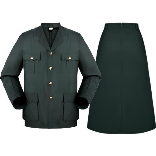 Military Olive green office woman woolen skirt suit
