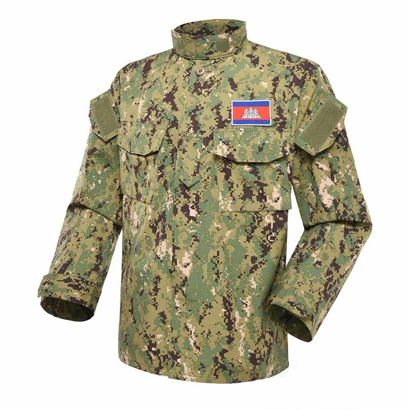 Military uniform Digital woodland camouflage uniform CVC 50/50 210GSM for M.O.E. OF Cambodia MFXX01