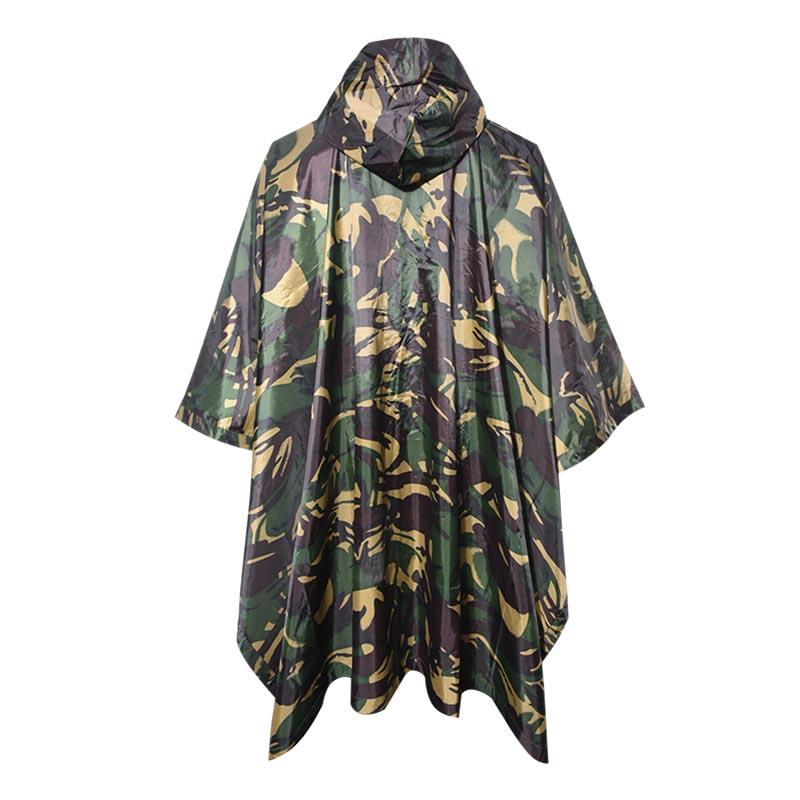 Military Outdoor Wooland Camouflage 190T Polyester 145*210cm PVC Coating Poncho or Raincoat PRXX01