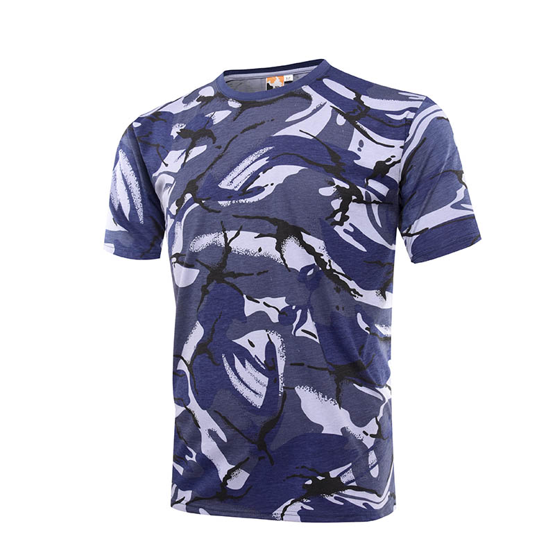 Military blue camo 100% cotton 160 gsm OEM knited T shirt-4