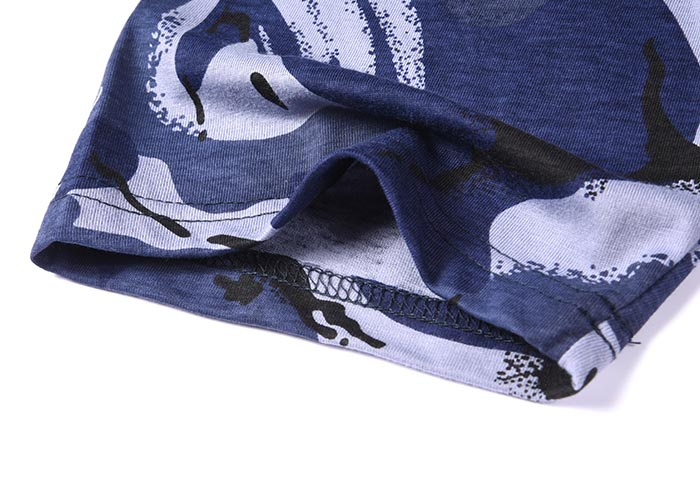 Military blue camo 100% cotton 160 gsm OEM knited T shirt-7