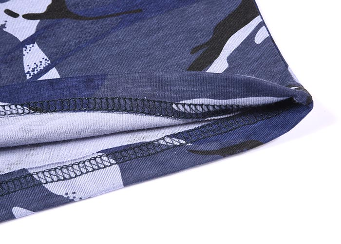 Military blue camo 100% cotton 160 gsm OEM knited T shirt-8