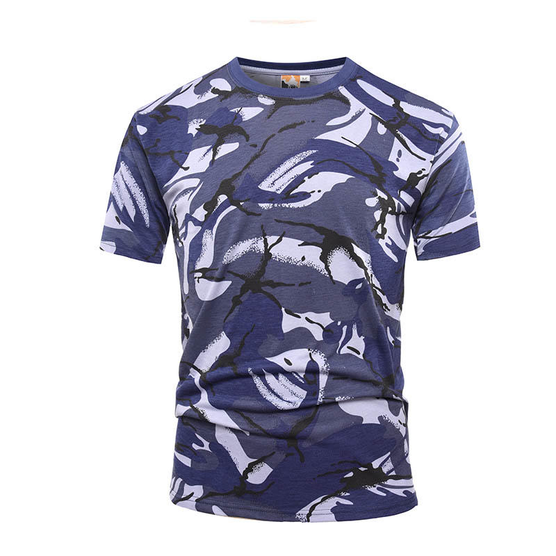 Military blue camo 100% cotton 160 gsm OEM knited T shirt-2
