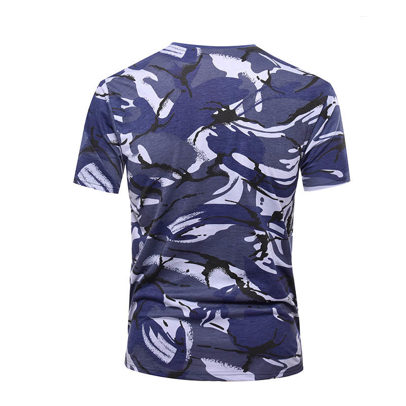 Military blue camo 100% cotton 160 gsm OEM knited T shirt-3