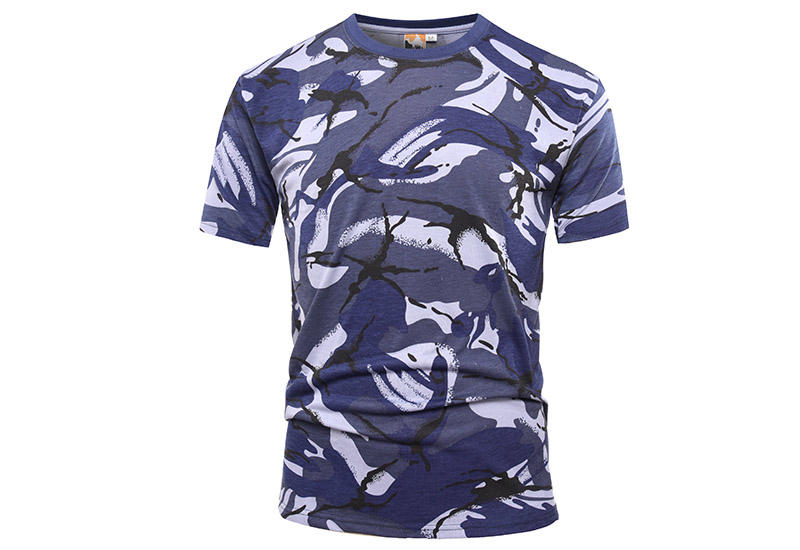 Military blue camo 100% cotton 160 gsm OEM knited T shirt-1