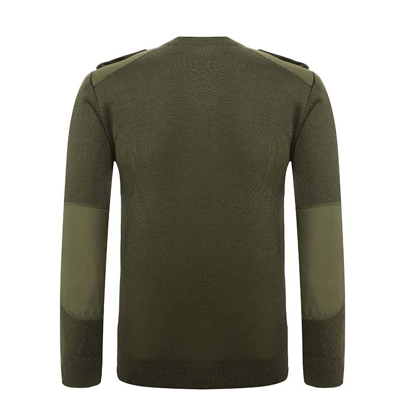 Military wool material V neck green pullover man sweater