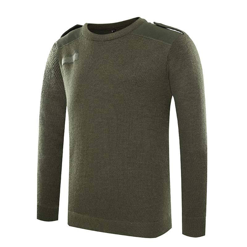 Military Commando wool material O neck green pullover man sweater