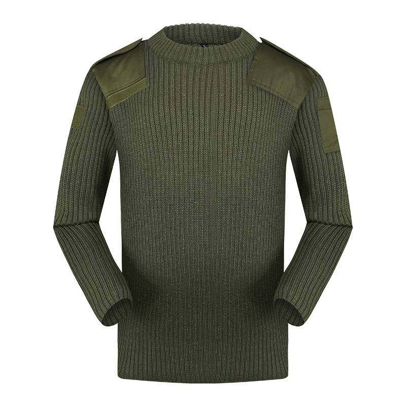 Military 50% wool 50% acrylic military green pullover man sweater