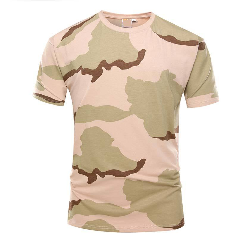 Military desert camo color short sleeves OEM knited T shirt