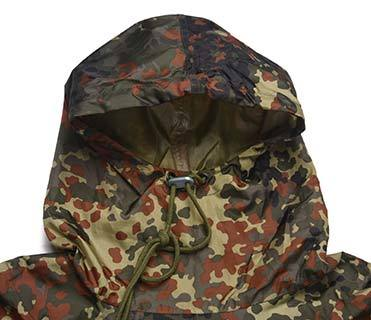 Military Outdoor Germany Camouflage 190T Polyester 145*210cm PVC Coating Poncho or Raincoat PRXX02